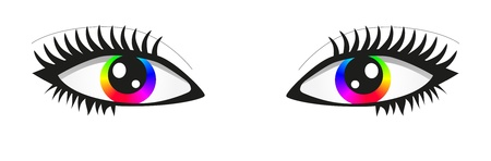 symbolic woman: Pair of bright rainbow eyes