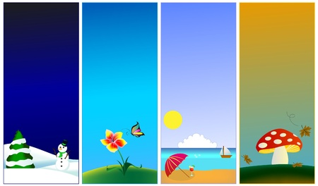 beach butterfly: Vertical banners - 4 seasons