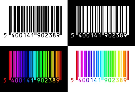 barcode scanning: collection of 4 barcodes Illustration