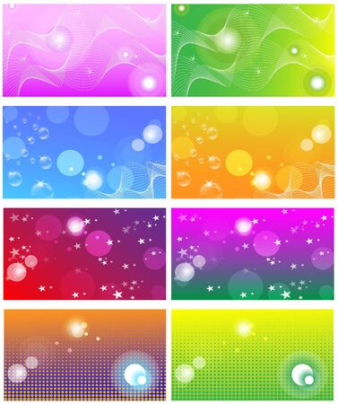 Collection of bright colored business cards; backgrounds Stock Vector - 9604813
