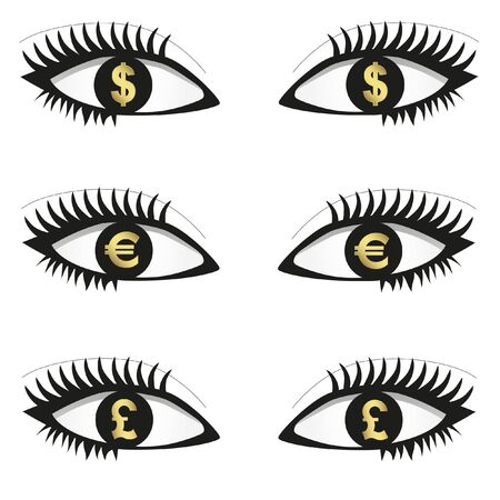 Eyes with currency icons Stock Vector - 9604810