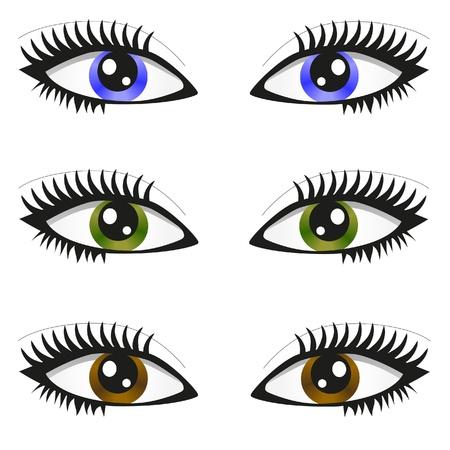 3 pair of eyes Vector