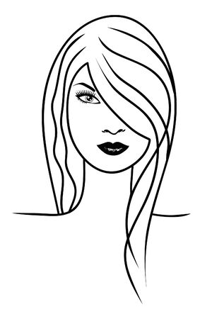 Face of beautiful girl Vector