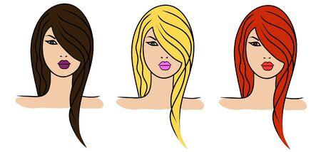 redhead woman: 3 ragazze con il colore dei capelli diverso Vettoriali
