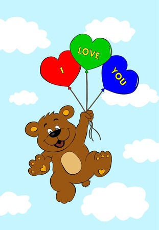 Bear with balloons flying in air