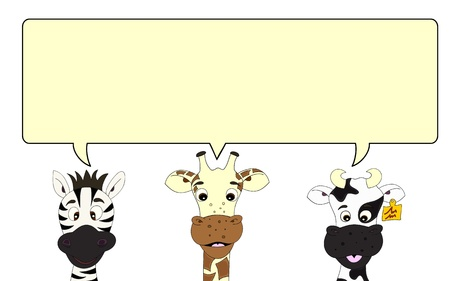 Zebra, giraffe and cow with speech bubble Illustration