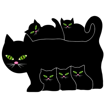 Cat and kittens Stock Vector - 10271016