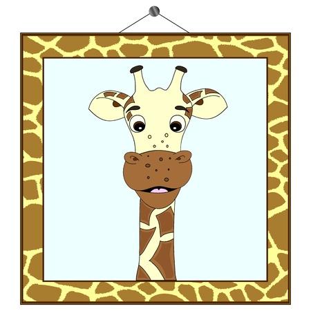 Giraffe portrait in giraffe frame Vector