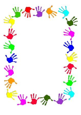 다채로운 손으로 프레임 일러스트
