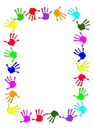 finger prints: Marco colorido mano