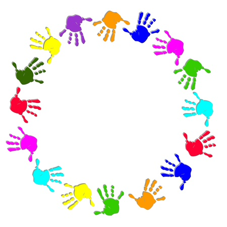 Cadre de la ronde main coloré Illustration