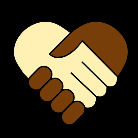 racism: Hand shake between black and white man, heart shaped symbol