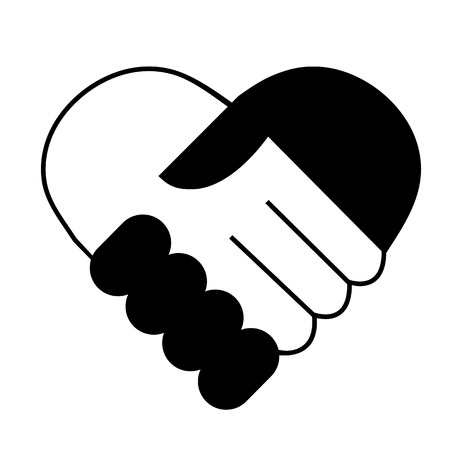two hearts together: Hand shake