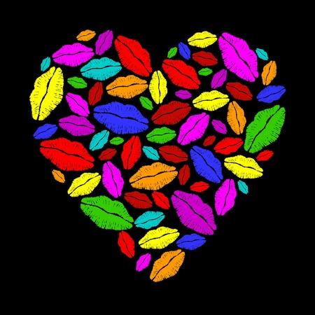 Coeur rouge à lèvres coloré Illustration