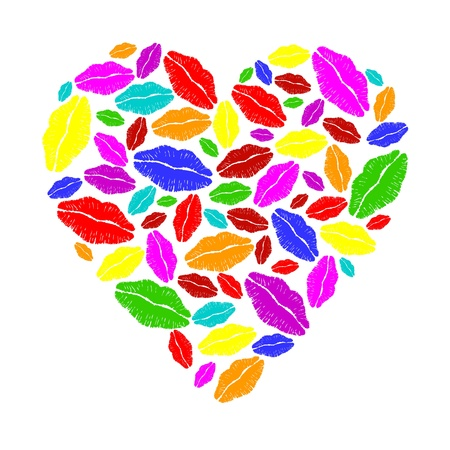 Colorful lipstick heart Stock Vector - 10271035