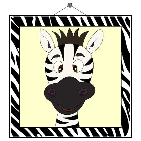 zebra heads: Zebra portrait in zebra frame