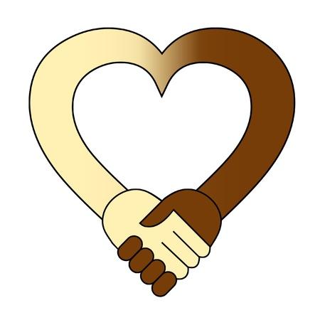 racismo: Corazón de estrechar la mano de