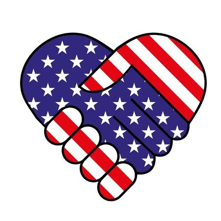 愛国心: アメリカの手を振る  イラスト・ベクター素材