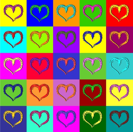 Warhol hearts Ilustrace
