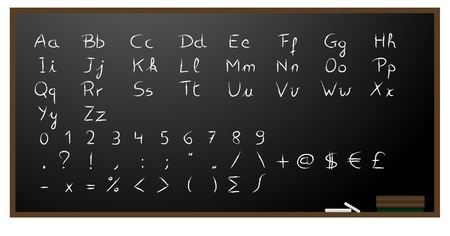 Blackboard background with alphabet, numbers and signs in chalk. Vector