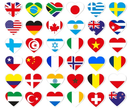 Heart flag stickers Vector