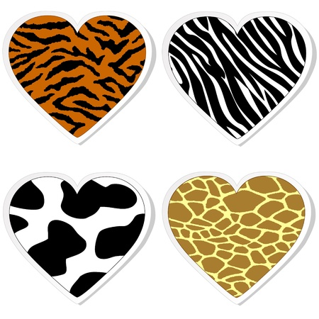 Animal print heart stickers Vector