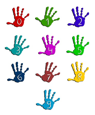 numeric: Colorful hand numbers Illustration