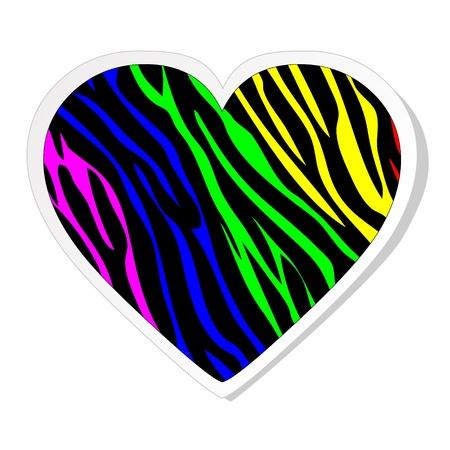 animal print: Cebra del arco iris etiqueta del coraz�n