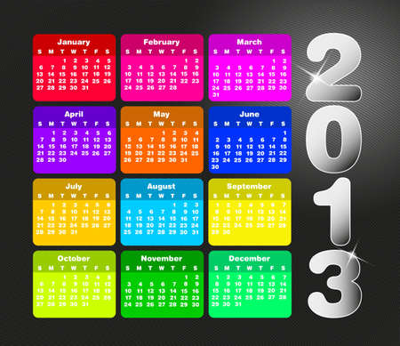 Calendrier coloré pour 2013. La semaine commence le dimanche Illustration