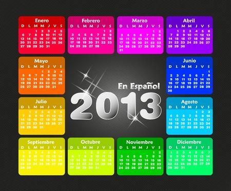 Calendrier coloré 2013 en espagnol. La semaine commence le dimanche.