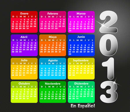 Colorful calendar 2013 in spanish. Week starts on sunday.  Vector