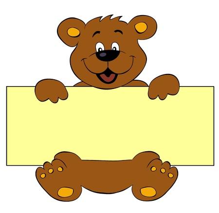 oso: Feliz con la bandera del oso Vectores