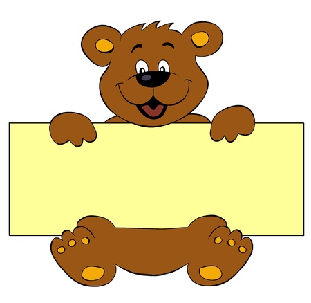 Happy bear with banner Vector