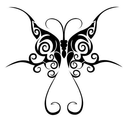 Tribal butterfly tattoo Stock Vector - 12487336