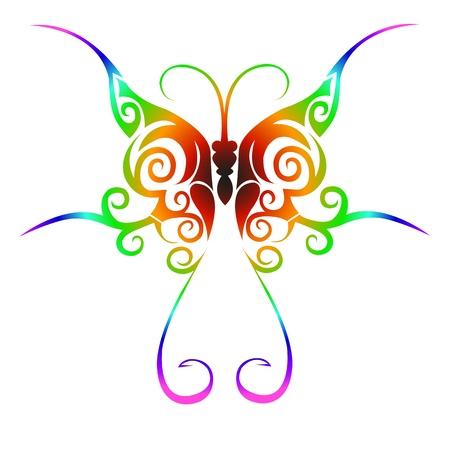 tattoo butterfly: Colorful tatuaggio farfalla tribale Vettoriali