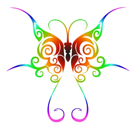 tattoo butterfly: Colorful tribal butterfly tattoo Illustration