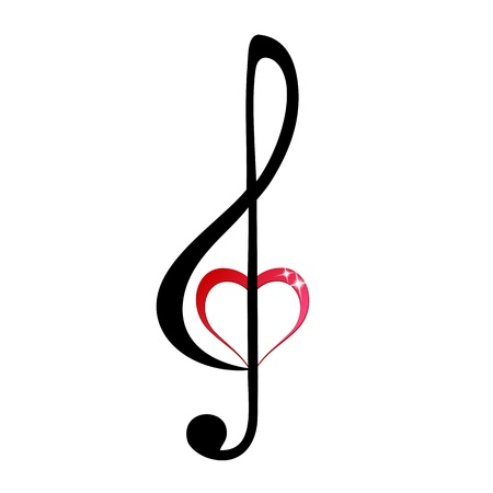 Glänzende Herzen Violinschlüssel
