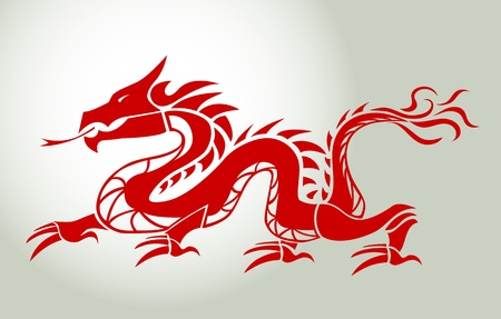 dragon tattoo design: Red dragon