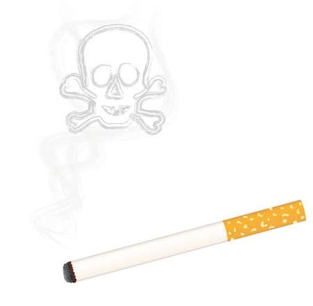 cigaret: Burning cigarette + skull in smoke Illustration