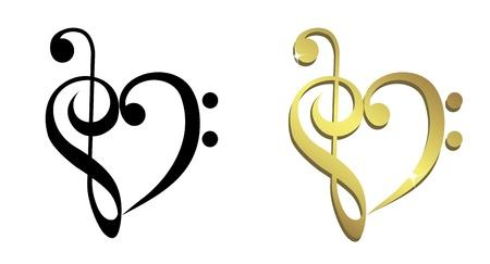 spigola: Cuore formato da chiave di violino e chiave di basso