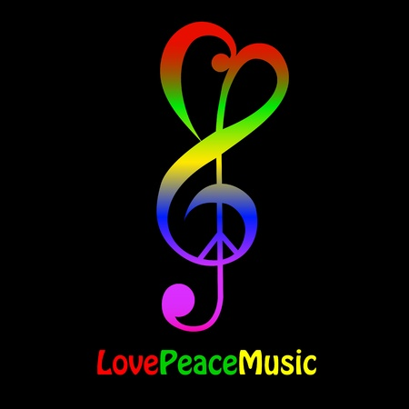 Love, peace and music Vector