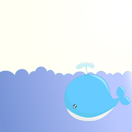 Cute whale background Stock Vector - 12487343