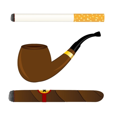 Cigarette, pipe and cigar Vector