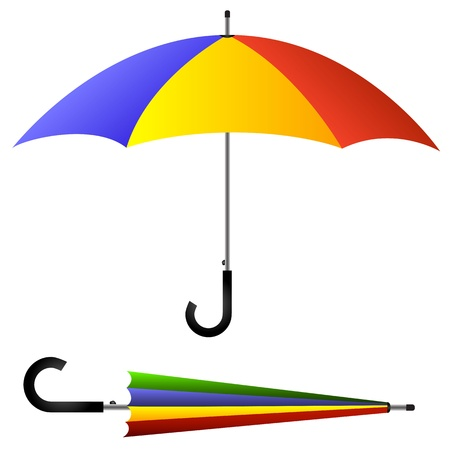 umbrella rain: Umbrella, open and closed Illustration