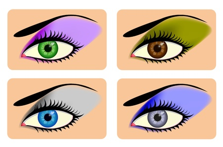 Attractive female eyes with vibrant eye shadow Vector