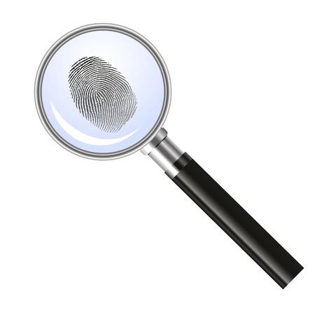 Lente di ingrandimento alla ricerca di impronte digitali