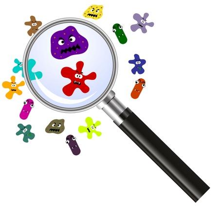 bacterie: vergrootglas en ziektekiemen Stock Illustratie