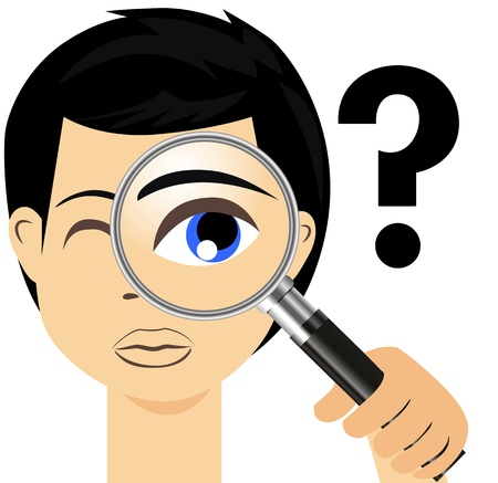 Detective with magnifier glass Vector