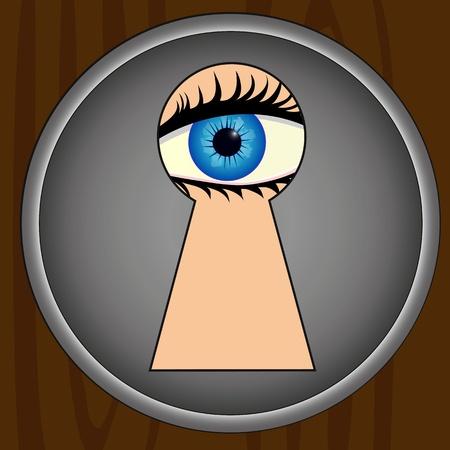 spying: Spying through keyhole