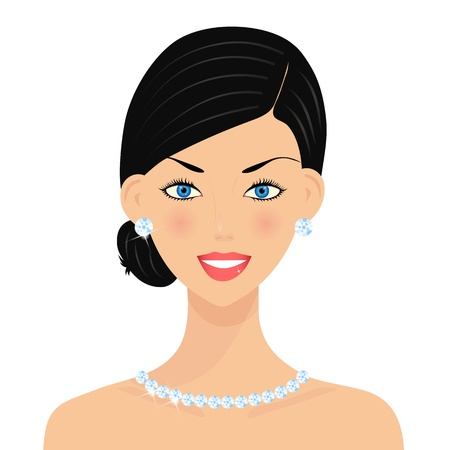 Beautiful woman with diamonds Vector